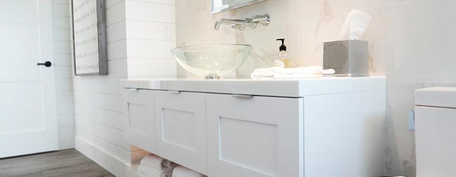 White-bath vanity