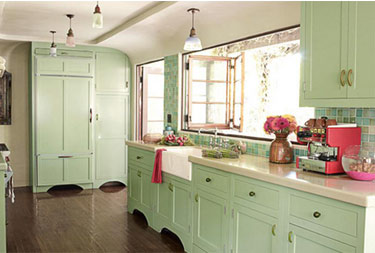 kitchen cabinets pastel green